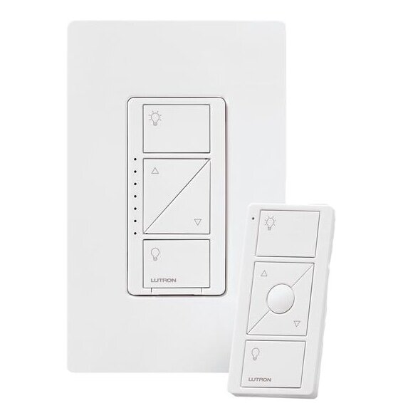 Lutron Dimmer - ✔ Works with a whole bunch of smart platforms✔ Works with 'dimmable' LED lights✔ Included remote allows for 3-way control without needing extra wiring✔ Can power multiple sockets from one switch✔ Intuitive control design✔ Highly reliable✔ Faceplate comes in four colors✘ Needs a hub for smart control✘ Most expensive option