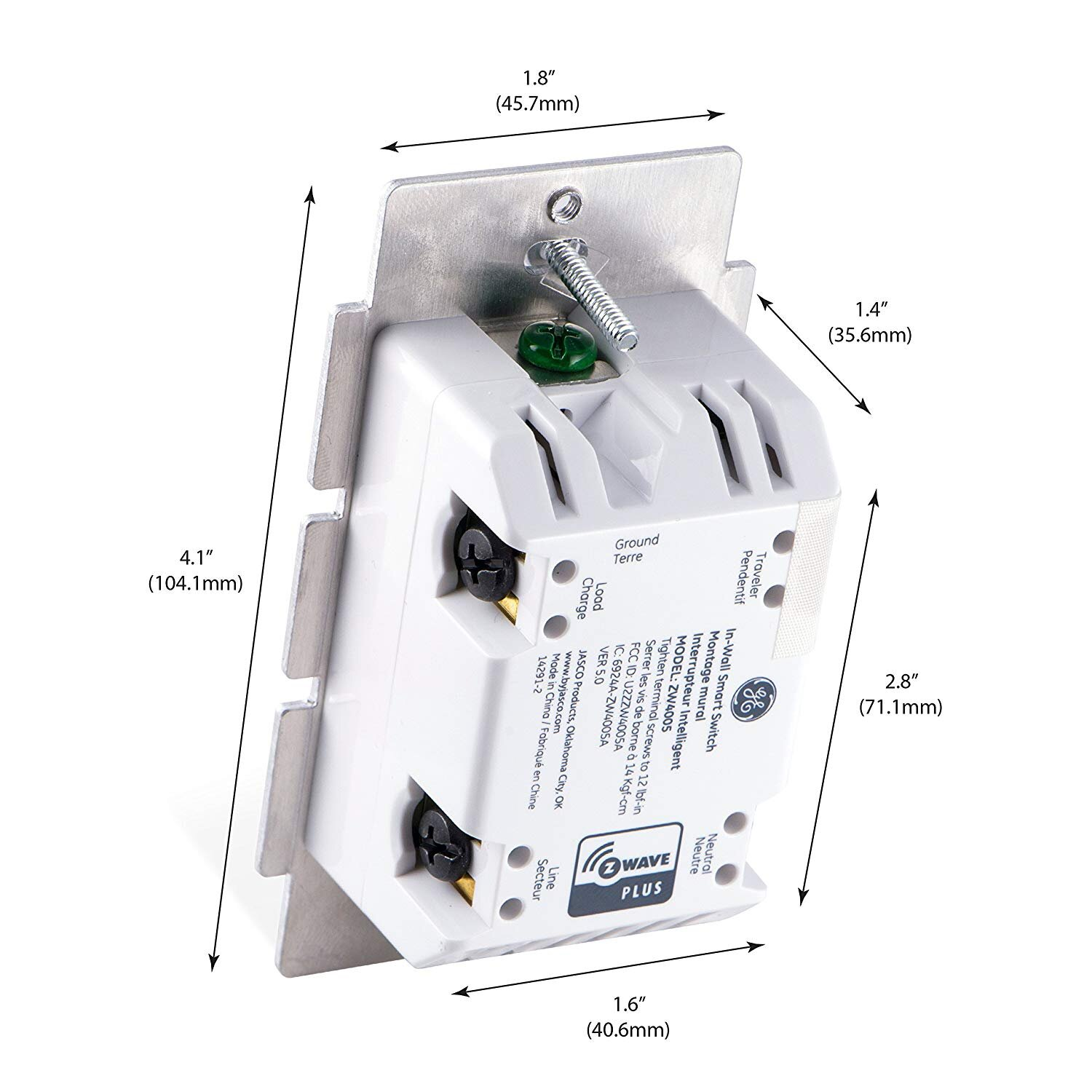 GE Smart Switch Wiring Connectors on the Back