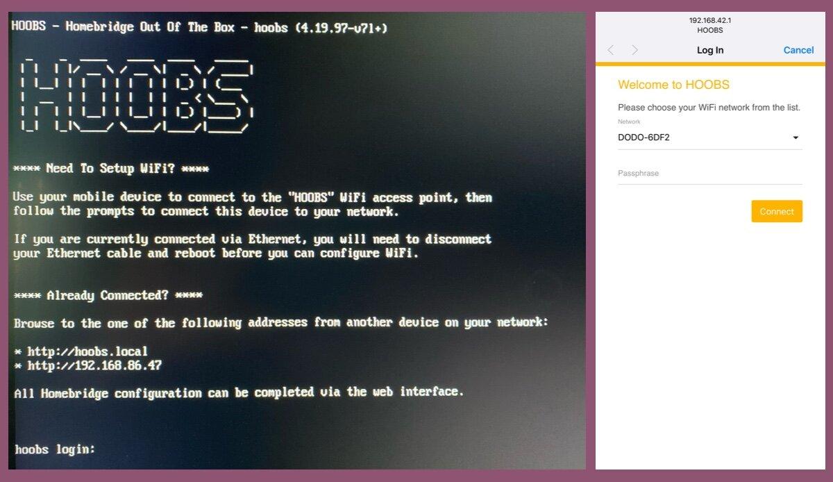 Boot screen (Left), WiFi Setup (Right)