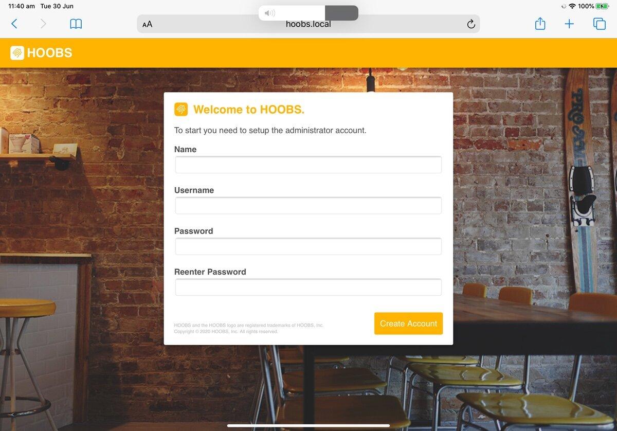 HOOBS Welcome Screen