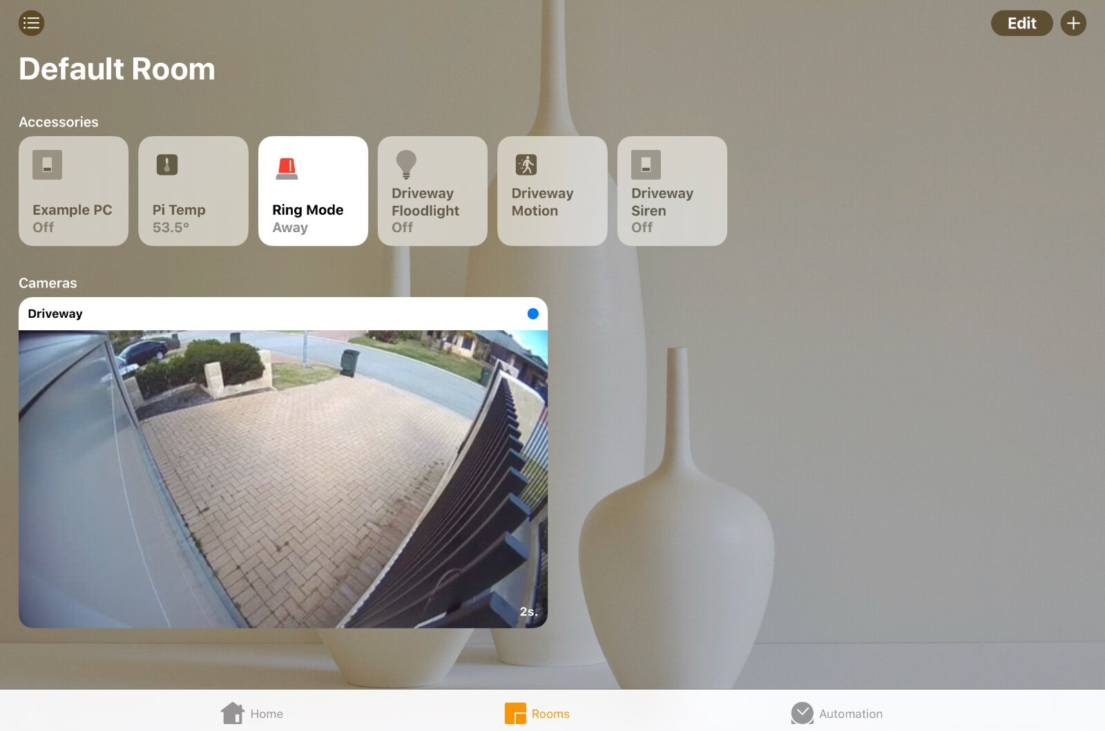 A Ring Spotlight Cam in the Home app