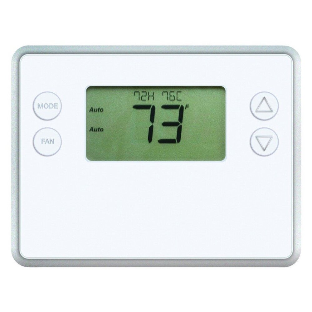 GoControl Battery Powered - ✔  Battery OR C-wire powered✔  Supports 2-stage heating/cooling✔  Supports 2-stage heat pumps✔  Inexpensive✘  Short battery life ✘  Limited LCD information✘  Not Z-Wave Plus