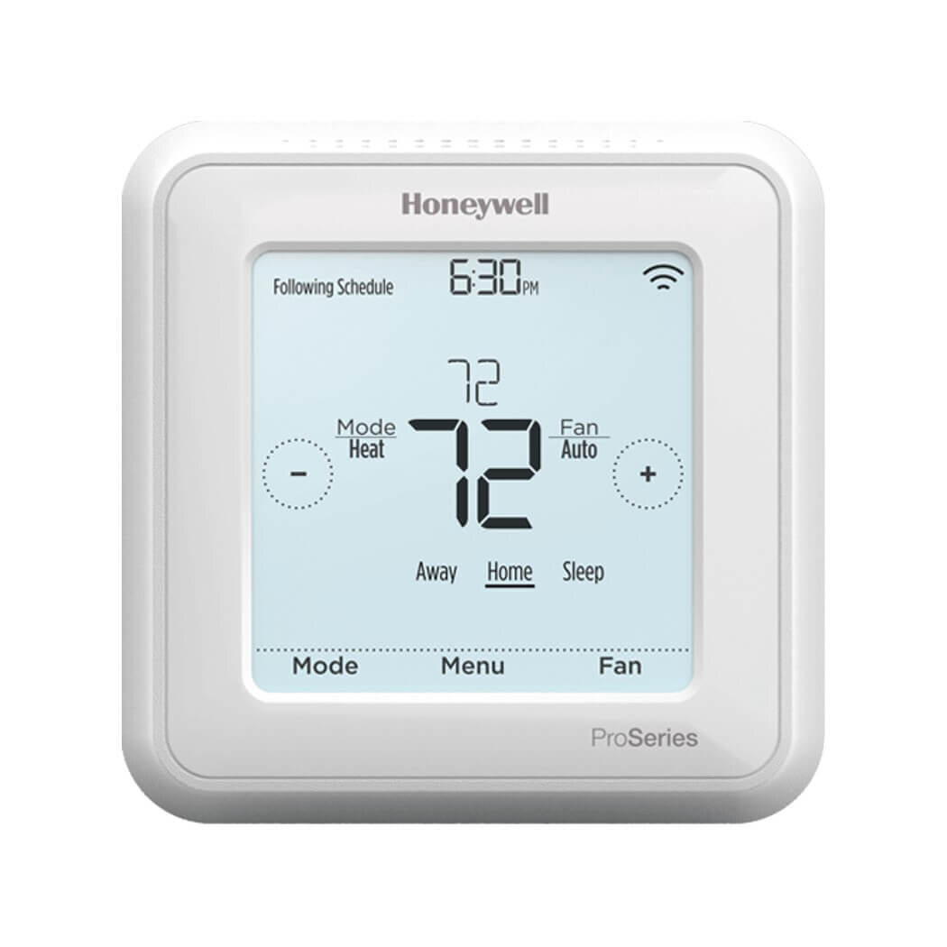 Honeywell T6 Pro - ✔  Z-Wave Plus ✔  Battery OR C-wire powered✔  Supports 2 stage heating/cooling✔  Supports dual fuel and aux heat✔  Supports multi-stage heat pumps✔  Detailed touch screen control✔  Optional outdoor sensor support