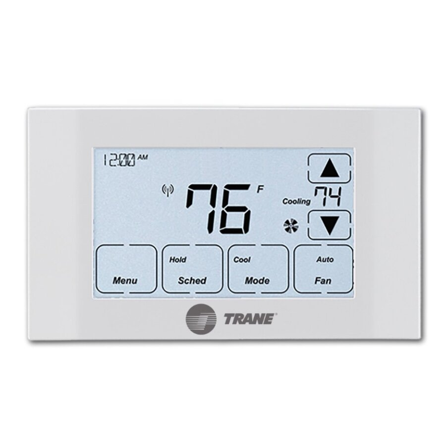 TRANE XR524 - ✔  Supports 2-stage heating✔  Supports heat pumps✔  Functional LCD touch controls✘  C-wire required ✘  Only 1-stage cooling supported✘  Not Z-Wave Plus