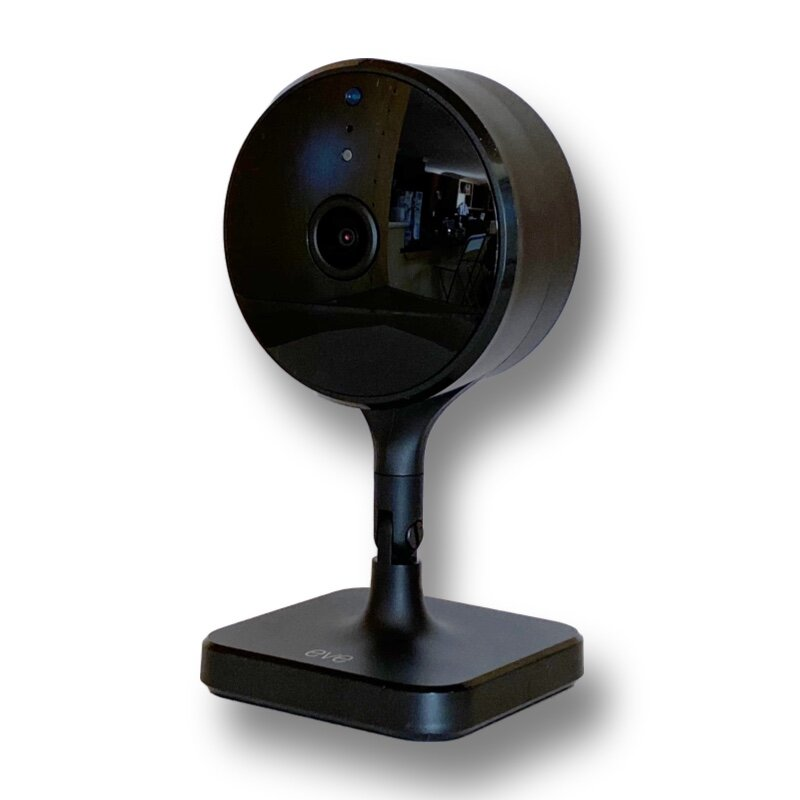 Eve Cam - ✔ HomeKit Secure Video✔ 150 degree 1080p camera✔ Night vision, 2 LEDs✔ Two-way talk✔ Magnetic mounting✔ No third party account required✘ Less easily angled