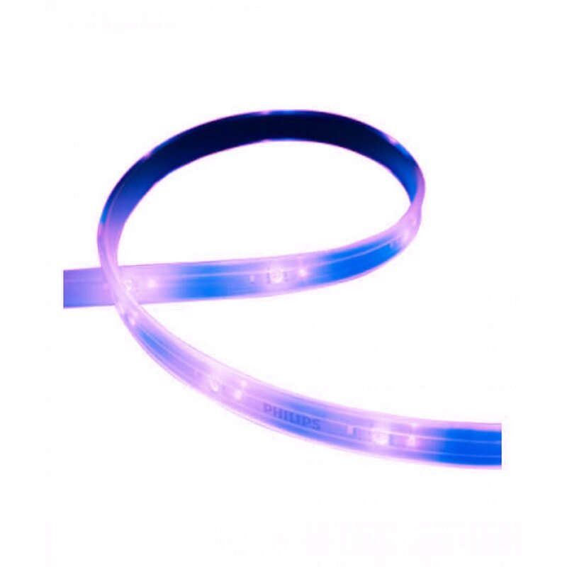 Hue Lightstrip Plus - ✔  Cut or Extend to size✔  Full color control✔  Broad integration compatibility✔  Bluetooth and ZigBee✔  Self adhesive✘  Integration requires Hue Bridge✘  Indoor only