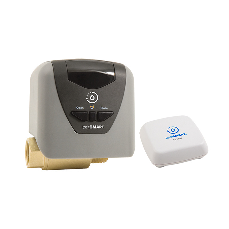 """LeakSmart Auto Shut Off - ✔  Fits 3/4"""" to 1-1/4"""" pipe (different models)✔  ZigBee - needs compatible hub✔  Supports Nest, Wink, IRIS, SmartThings ✔  Leak detection via wireless sensors✔  Included battery backup✘  120V power outlet✘  Needs LeakSmart Hub for sensors✘  Indoor rated (outdoor enclosure available)"""