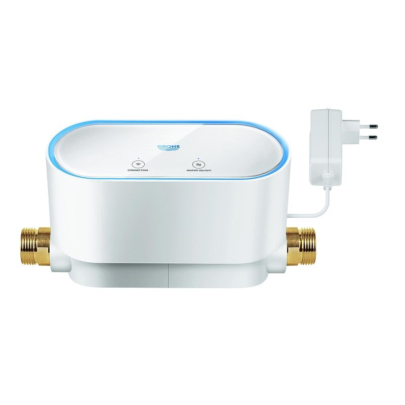 """Grohe Sense Guard - ✔  Fits 3/4"""" pipe (1"""" adapter available)✔  WiFi, no hub required✔  Automatic leak detection✘  110V power outlet only (27' extension optional)✘  Indoor use only✘  Internet required for app control✘  No smart home integration"""