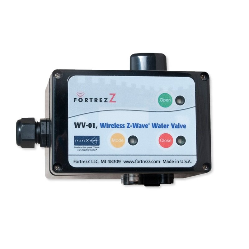 FortrezZ Valve Actuator - ✔  Actuator only, needs custom valve✔  Z-Wave - controller required✔  Motor is outdoor rated (25'/50'/75' cable options)✘  North America only✘  No built-in leak detection