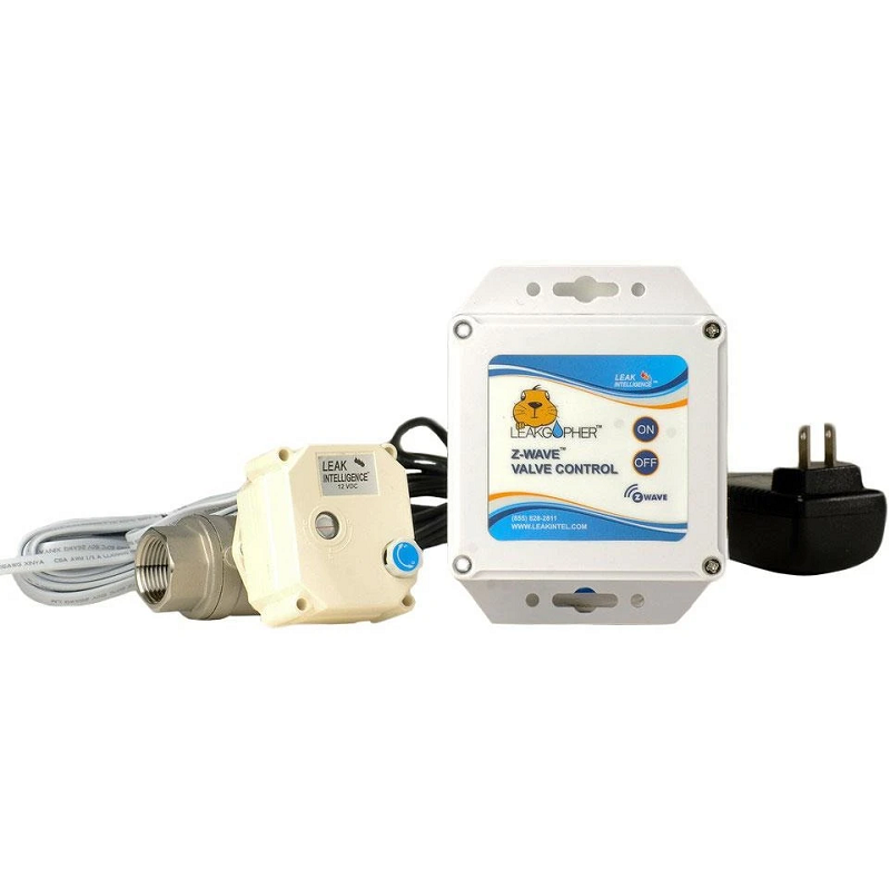 """Leak Gopher by Leak Intel - ✔  Fits 3/4"""" to 2"""" pipe (different models)✔  Z-Wave Plus - controller required✔  10 year warranty✘  110v power outlet required✘  Indoor rated only✘  No built-in leak detection"""