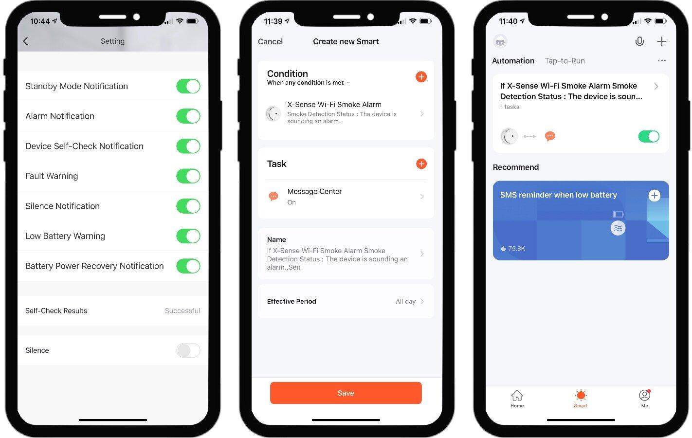 X-Sense configuration in the Smart Life app