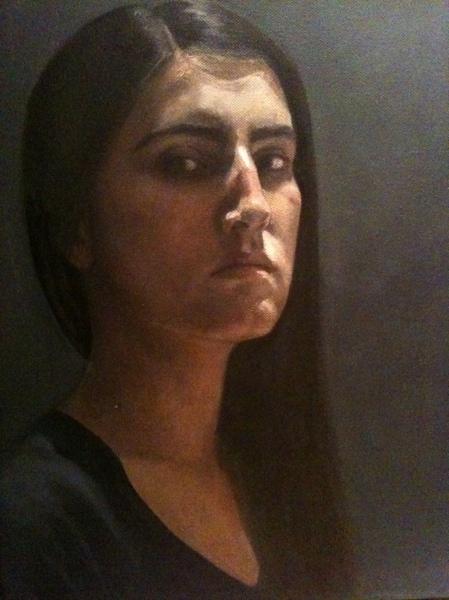 Self portrait, 45cm x 50cm, oil on canvas, 2012.