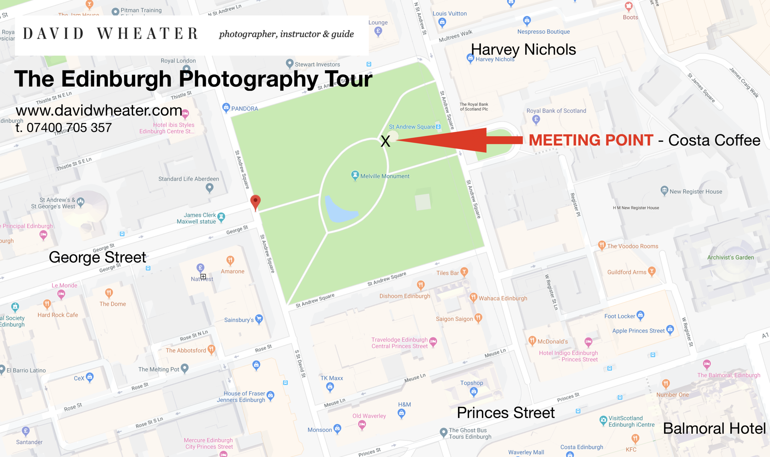 THE EDINBURGH PHOTOGRAPHY TOUR MEETING POINT  - CLICK ON MAP TO ENLARGE. We can also meet you directly at your hotel if that would be more convenient.