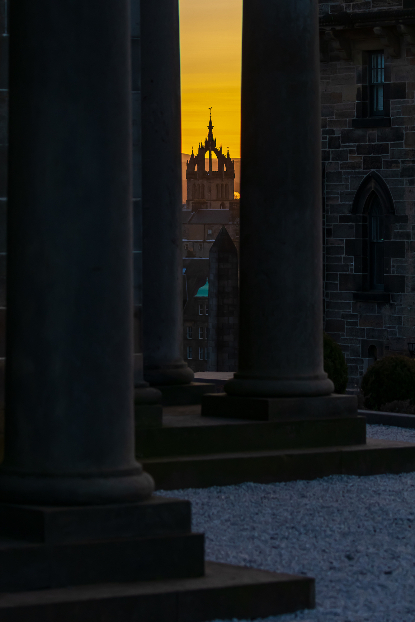 (1366) The Crown Steeple of St Giles' Cathedral in Golden Sunset from The Collective, Calton Hill, Edinburgh, Scotland 2018. Copyright David Wheater.jpg