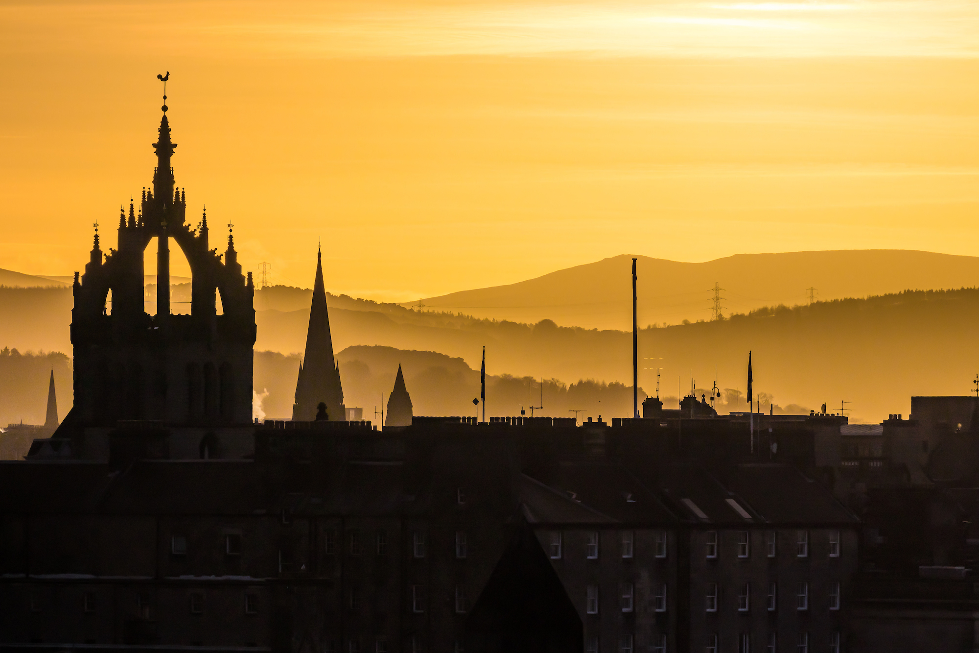 (1363) The Crown Steeple of St Giles' Cathedral and Pentland Hills in Golden Sunset, High Street, Royal Mile, Old Town, Edinburgh, Scotland 2018. Copyright David Wheater.jpg