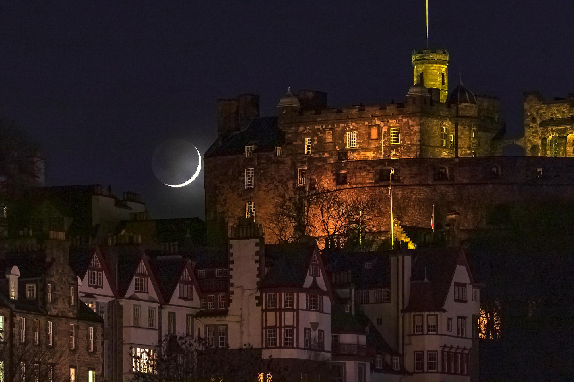 (1335) Moon over Edinburgh Castle, Edinburgh, Scotland. Copyright David Wheater.jpg