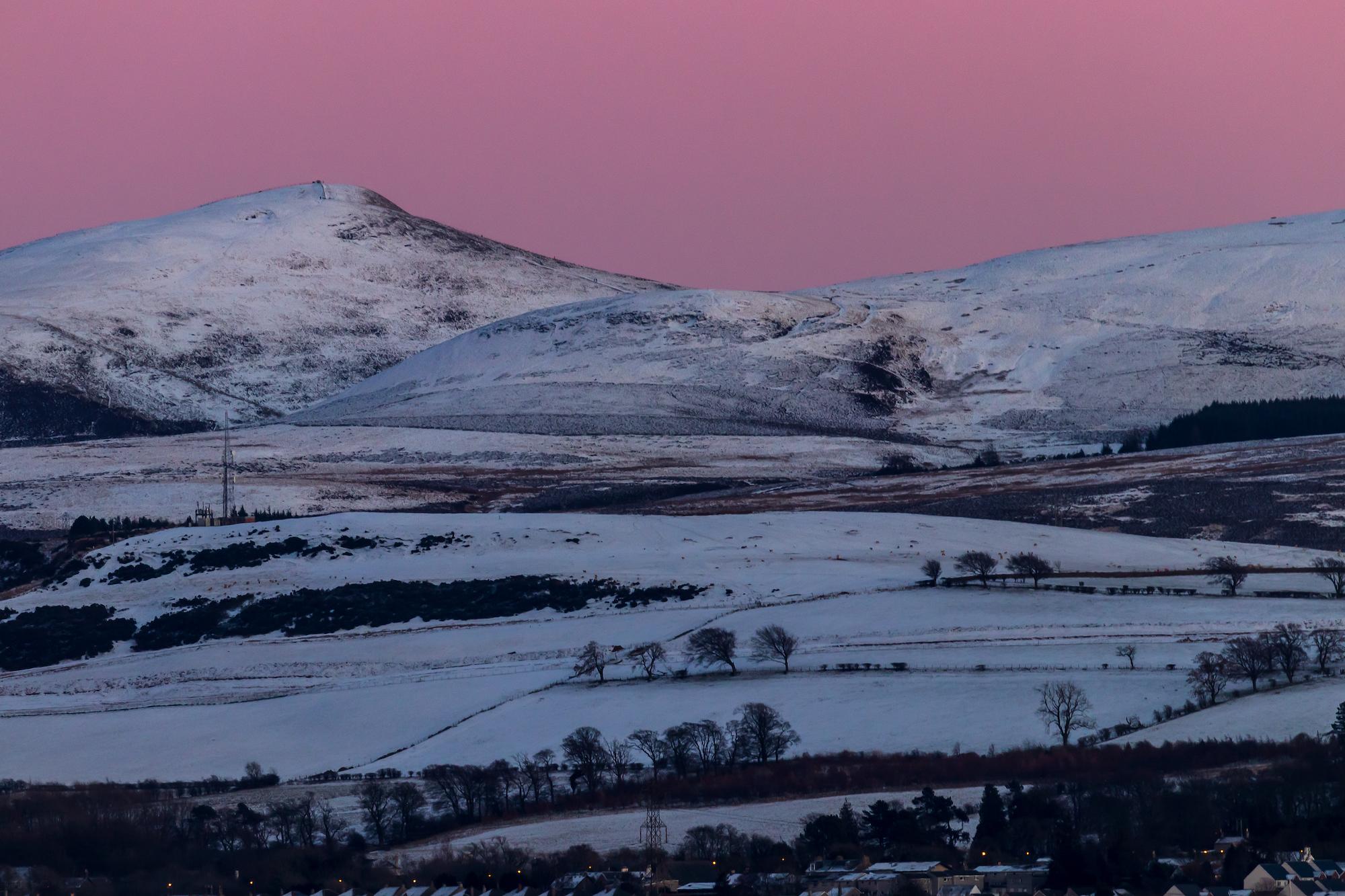 (1338) Pink Sunset Over the Pentland Hills, Edinburgh, Scotland. Copyright David Wheater All Rights Reserved.jpg