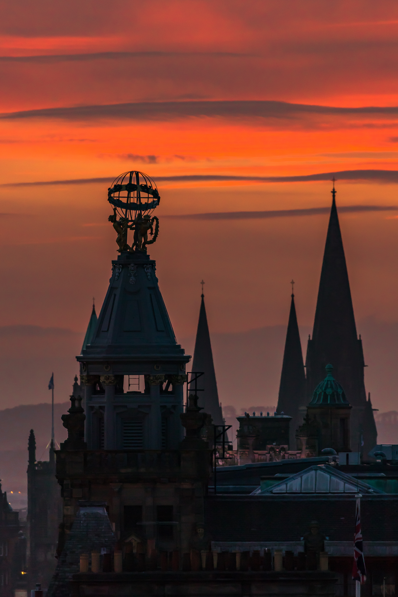 (946) The Forsyth Armillary Sphere and Spires of St Mary's Cathedral, Red Winter Sunset, Princes Street, Edinburgh, Scotland.jpg