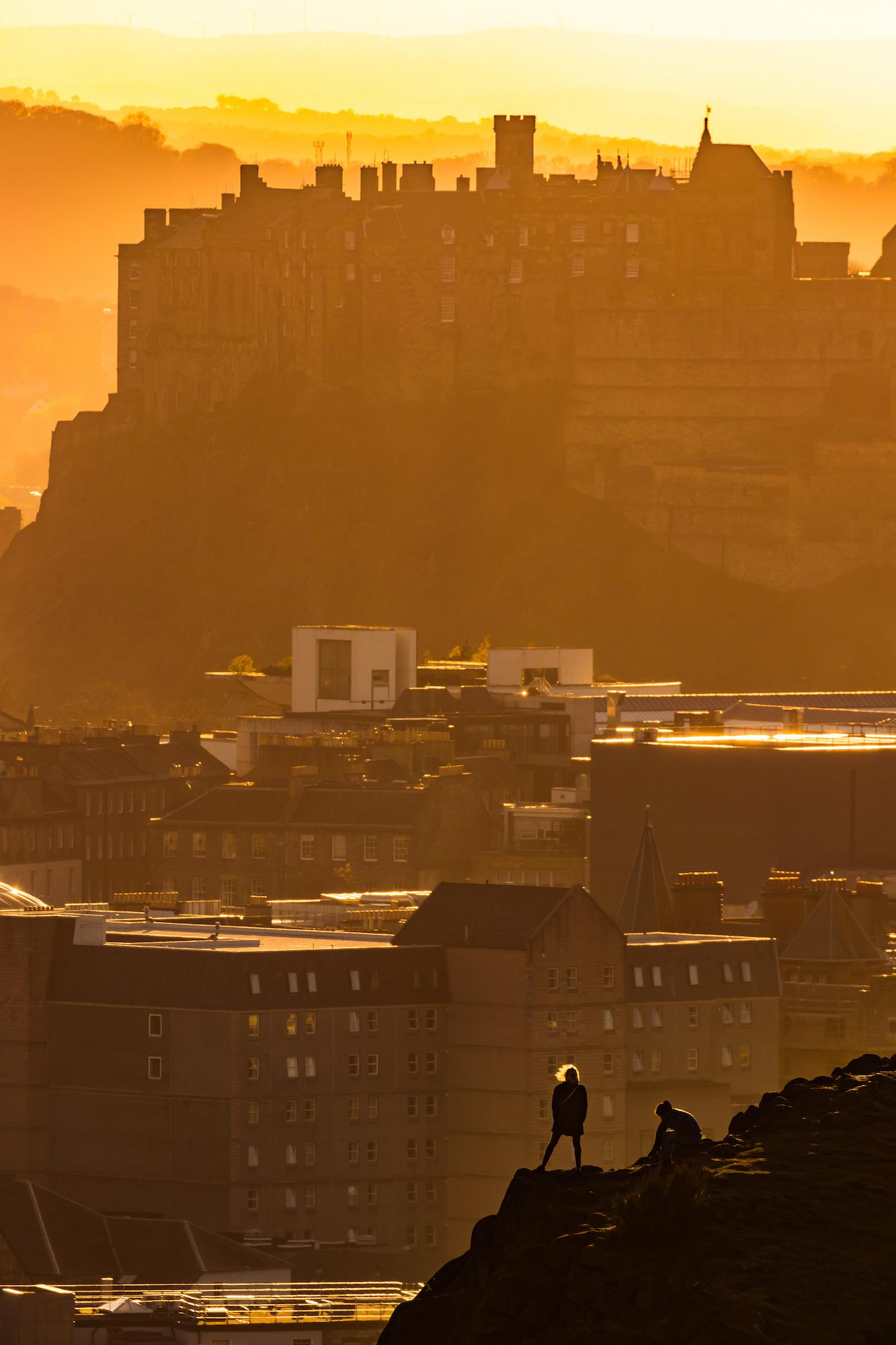 (1091) Golden Hour on Salisbury Crags, Arthur's Seat and Edinburgh Castle, Scotland April 2018.jpg