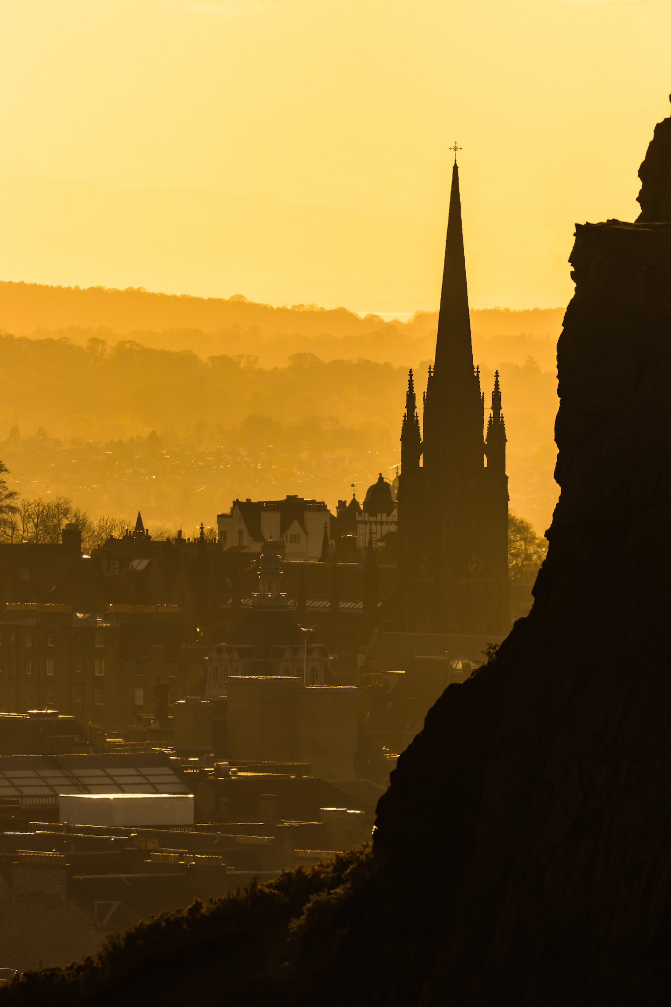 (1099) Golden Hour, The Hub (Highland Tolbooth St John's Church 1845) and Salisbury Crags, Old Town, Edinburgh, Scotland.jpg