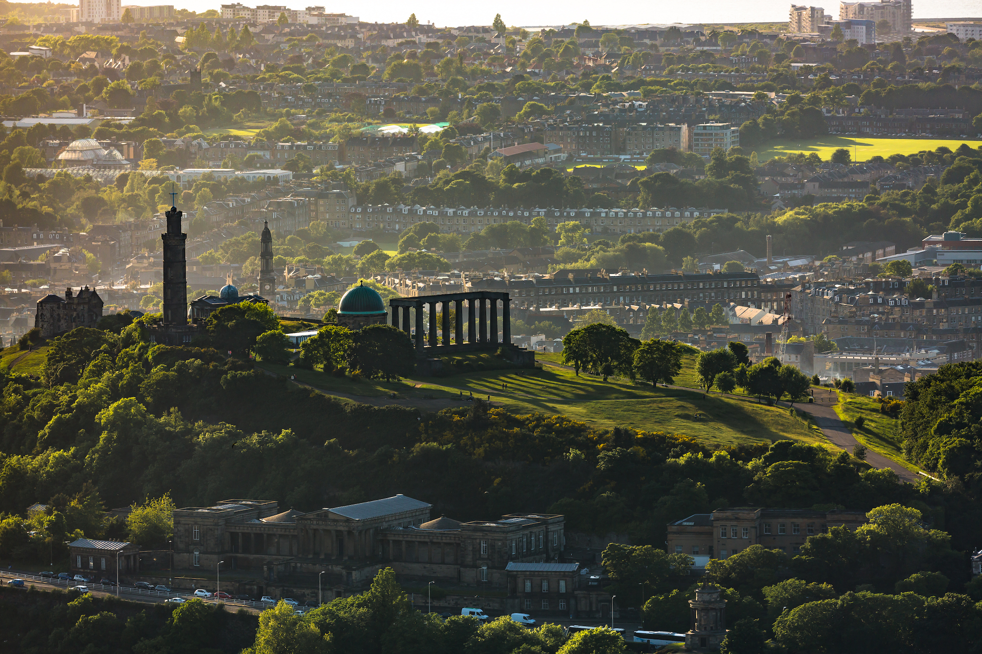 (578) Calton Hill, Old Royal High School, the Nelson Monument, the National Monument and City Observatory to Leith, Edinburgh, Scotland.jpg
