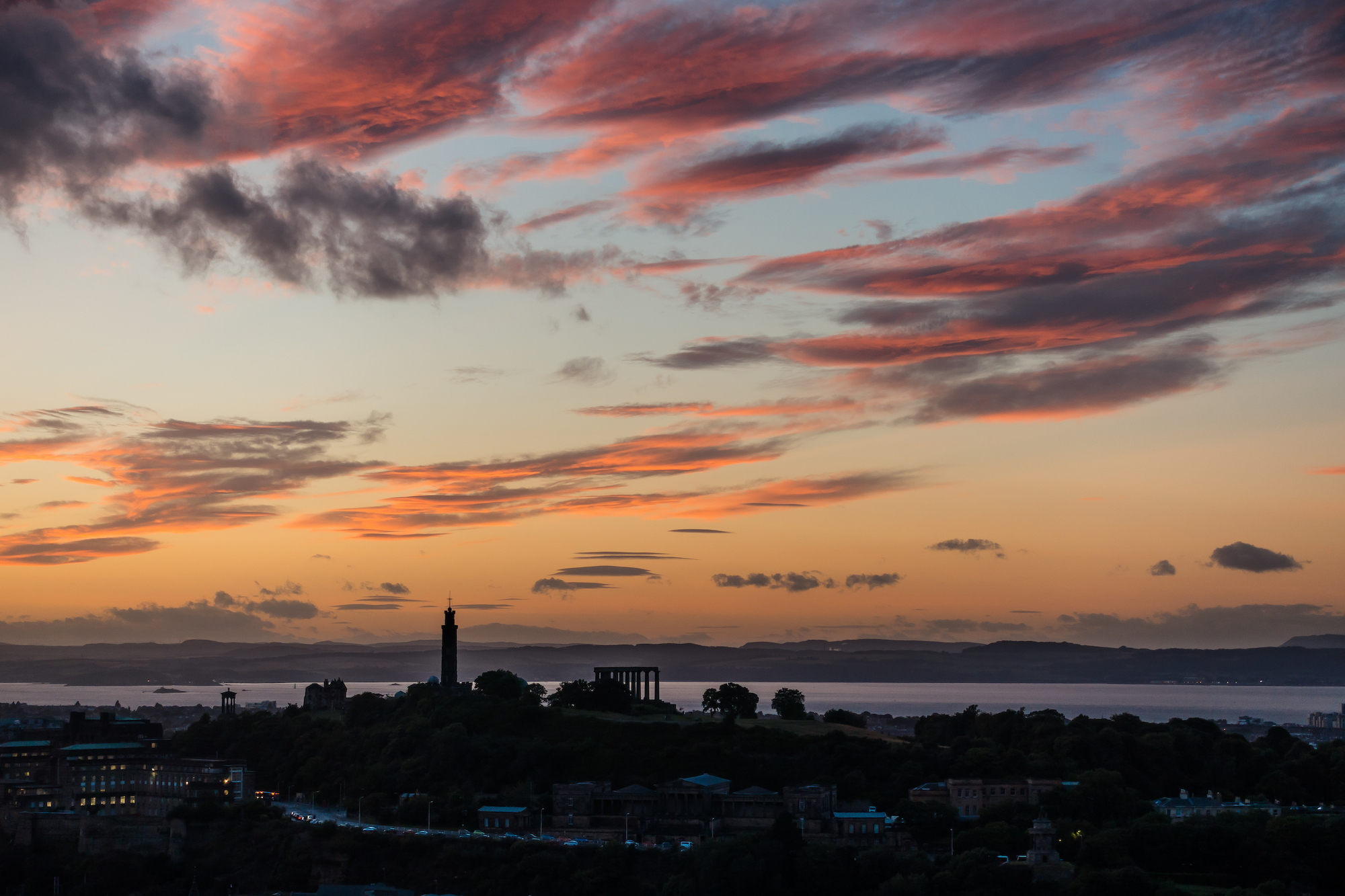 (471) Pink Sunset over Calton Hill and the Firth of Forth, Edinburgh, Scotland. Copyright David Wheater.jpg