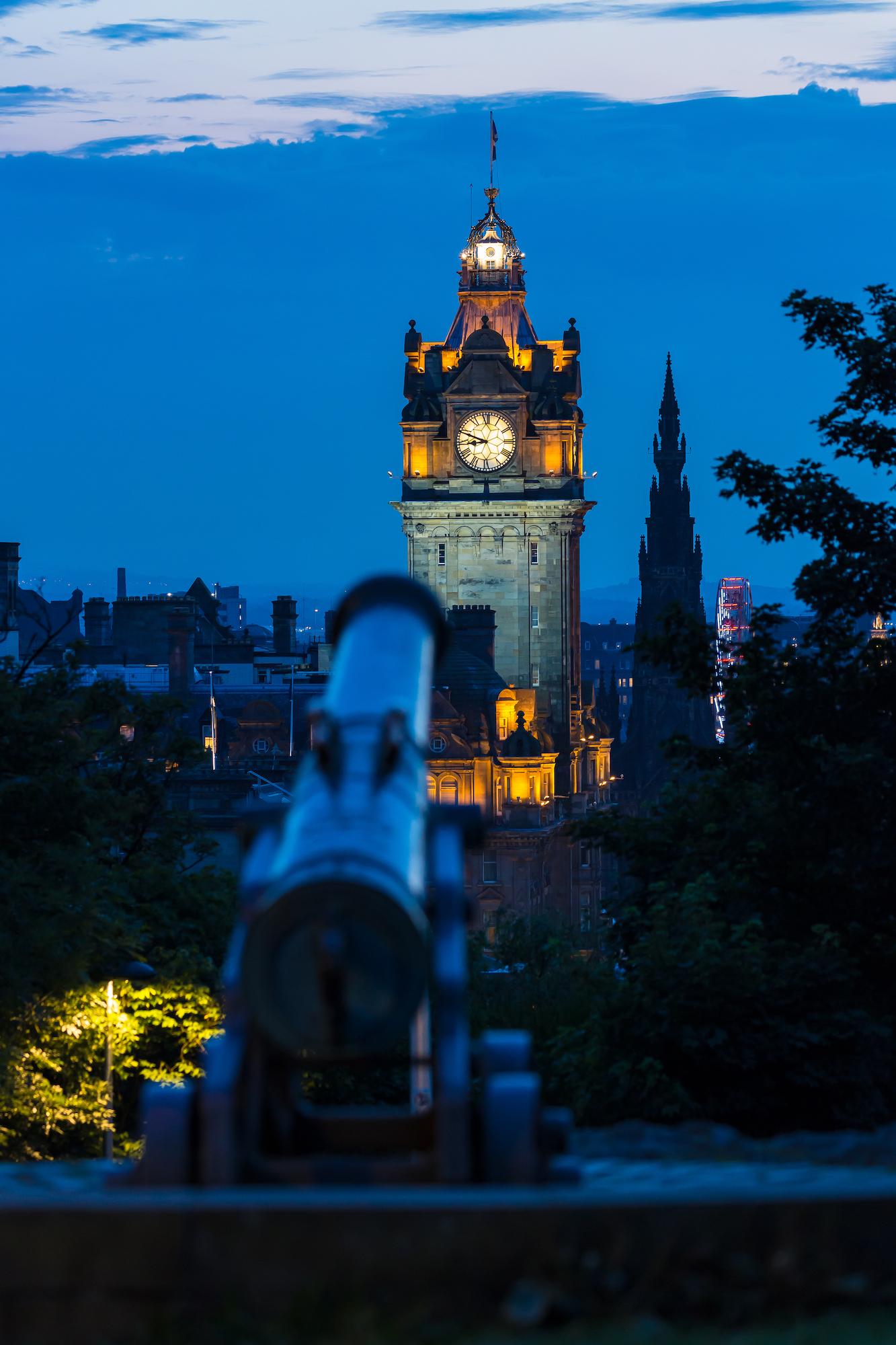 (473) The Portugese Cannon, The Balmoral Hotel and Scott Monument, Calton Hill, Edinburgh, Scotland.jpg