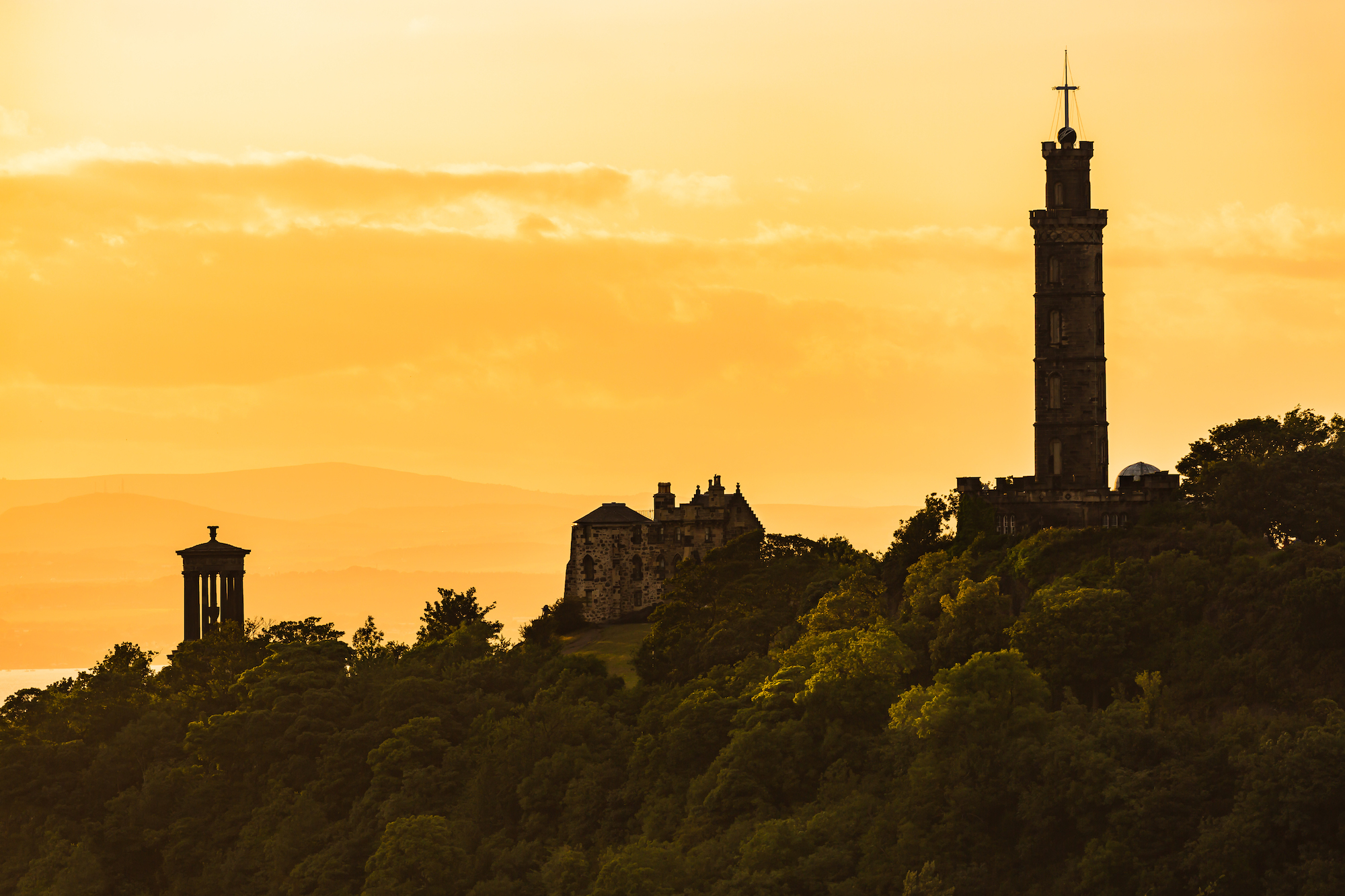 (475) The Dugald Stewart Monument, Gothic Tower of The City Observatory and The Nelson Monument, Calton Hill, Edinburgh, Scotland.jpg