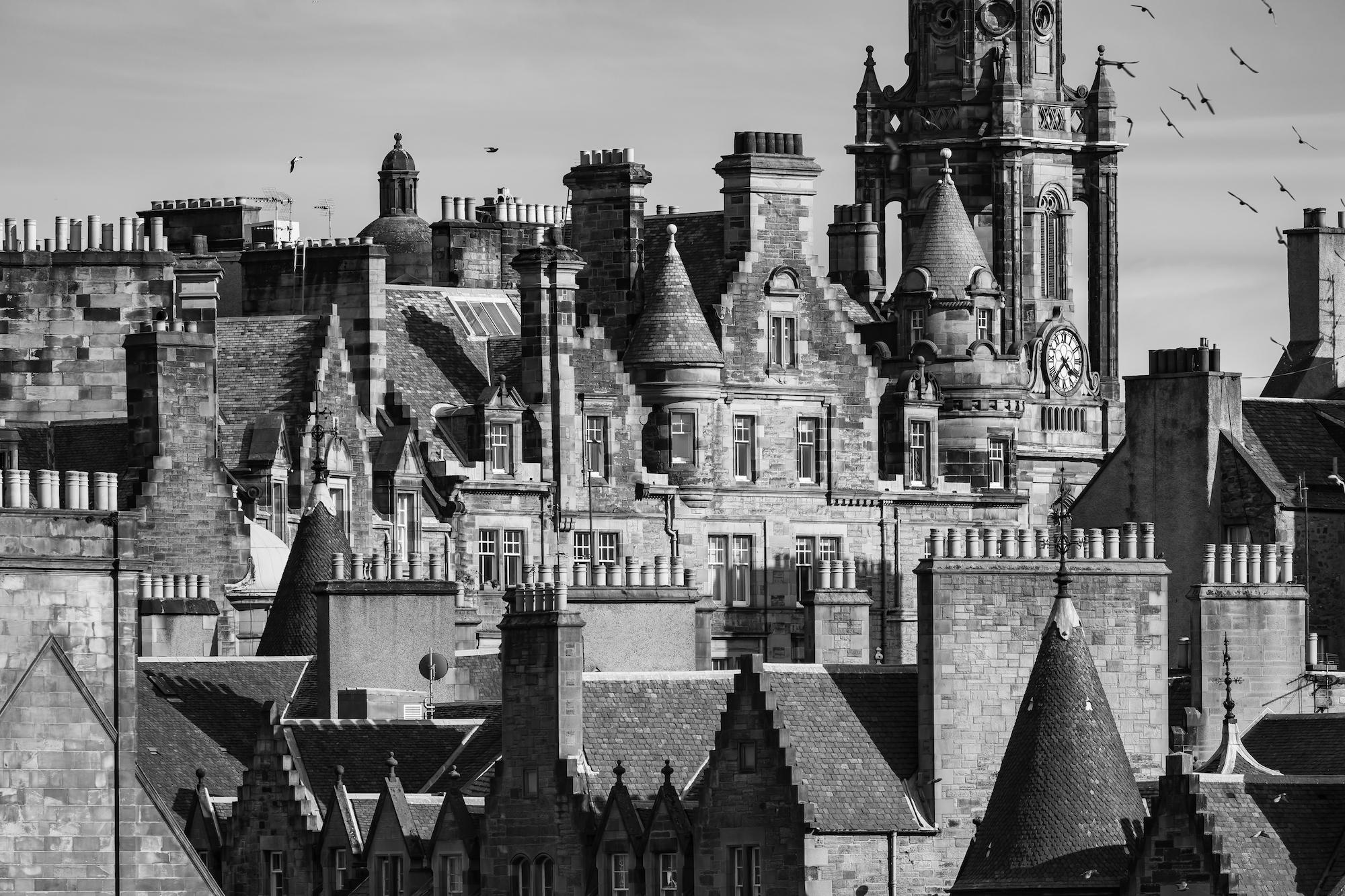 (488) Tenement Rooftops in Cockburn Street and The Tron Kirk Steeple, Royal Mile, Edinburgh, Scotland.jpg