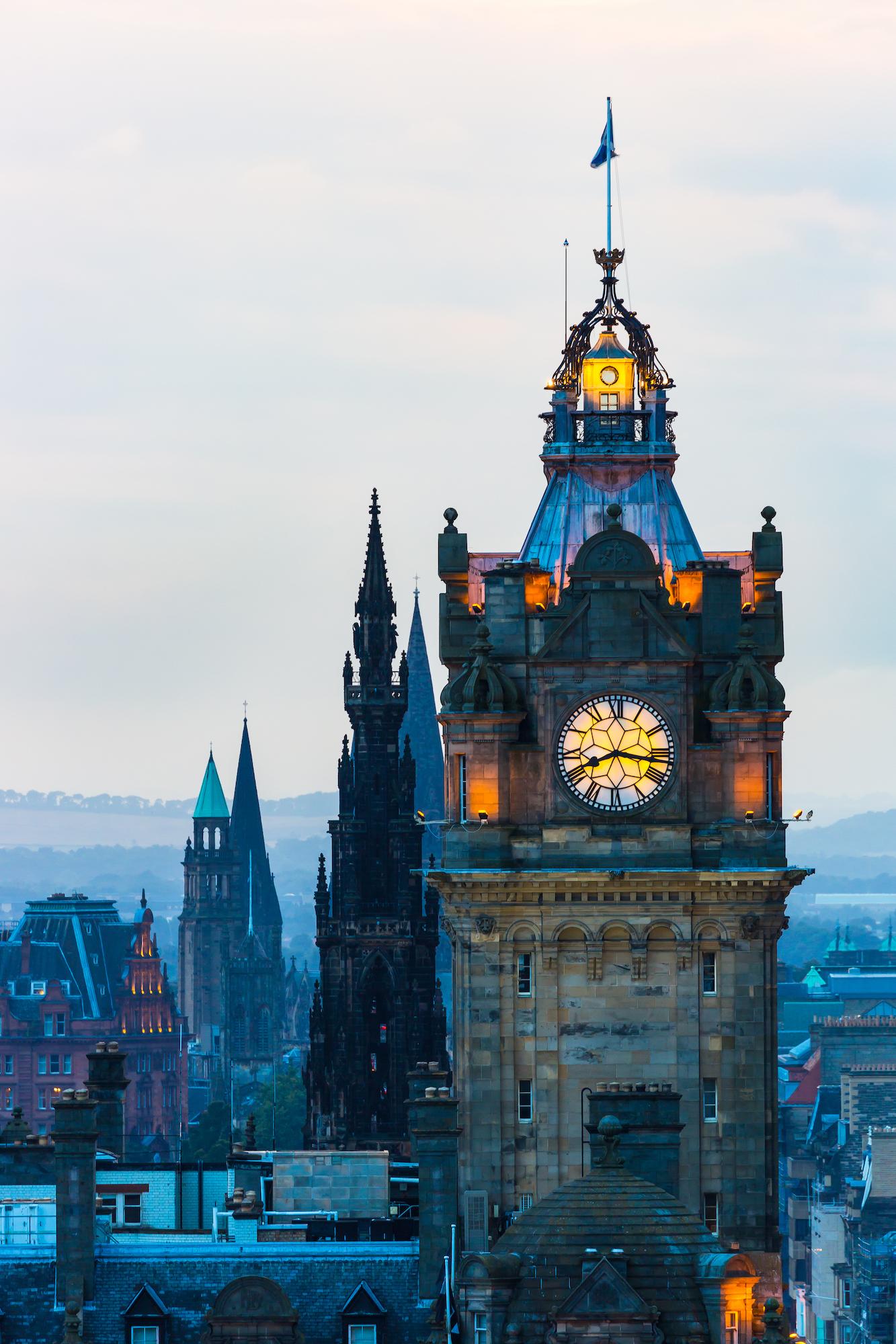 (245) (PO) Five Spires of Balmoral Hotel Clock Tower, Scott Monument, St John's Church, Charlotte Chapel and St Mary's Cathedral, Edinburgh, Scotland.jpg