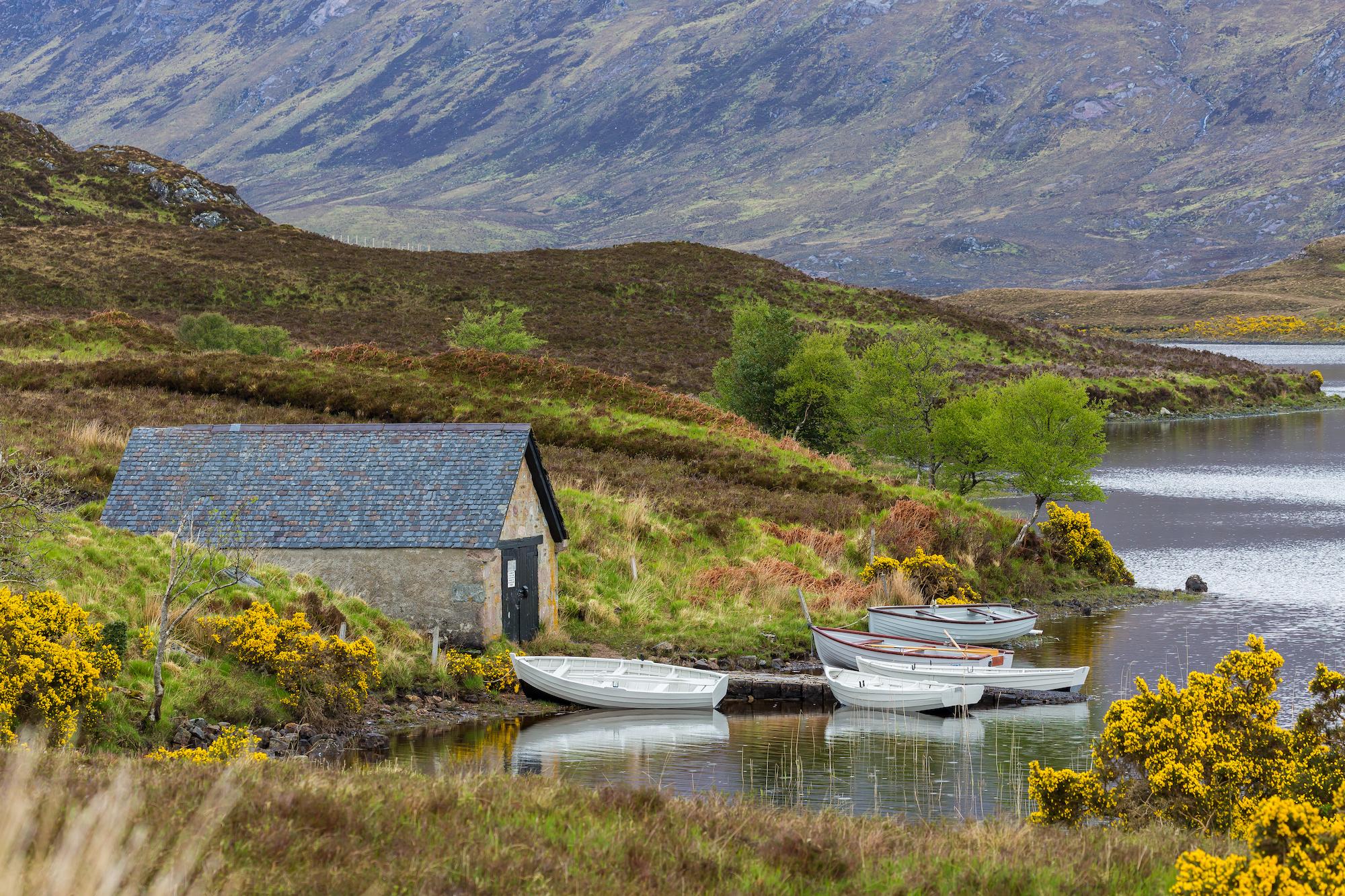 (178) Boathouse on Loch Stack, Laxford Bridge, Sutherland, Scotland. Copyright David Wheater.jpg
