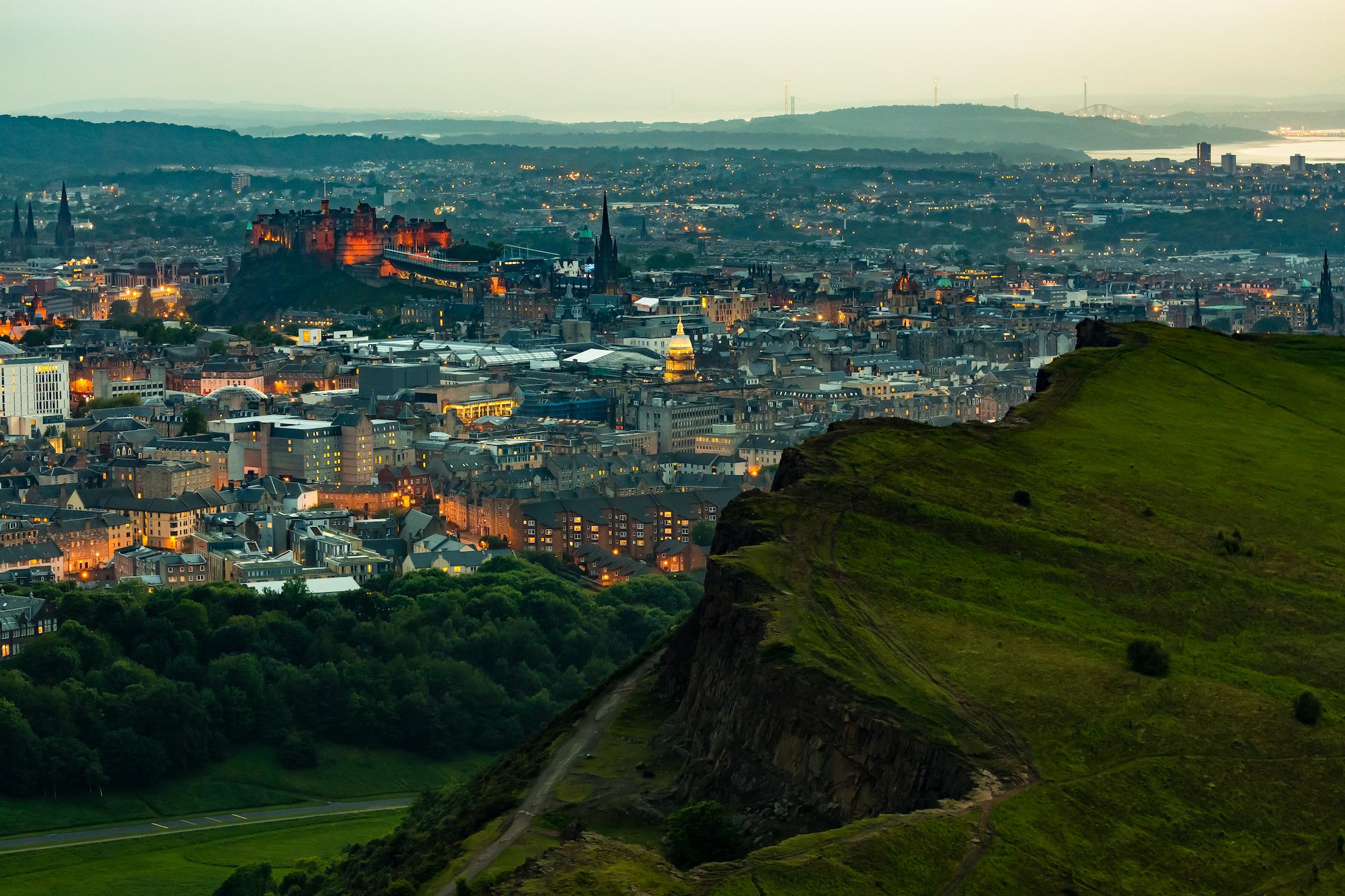 (182) (PO) Salisbury Crags to Edinburgh Castle and the Forth Bridges, Edinburgh, Scotland.jpg