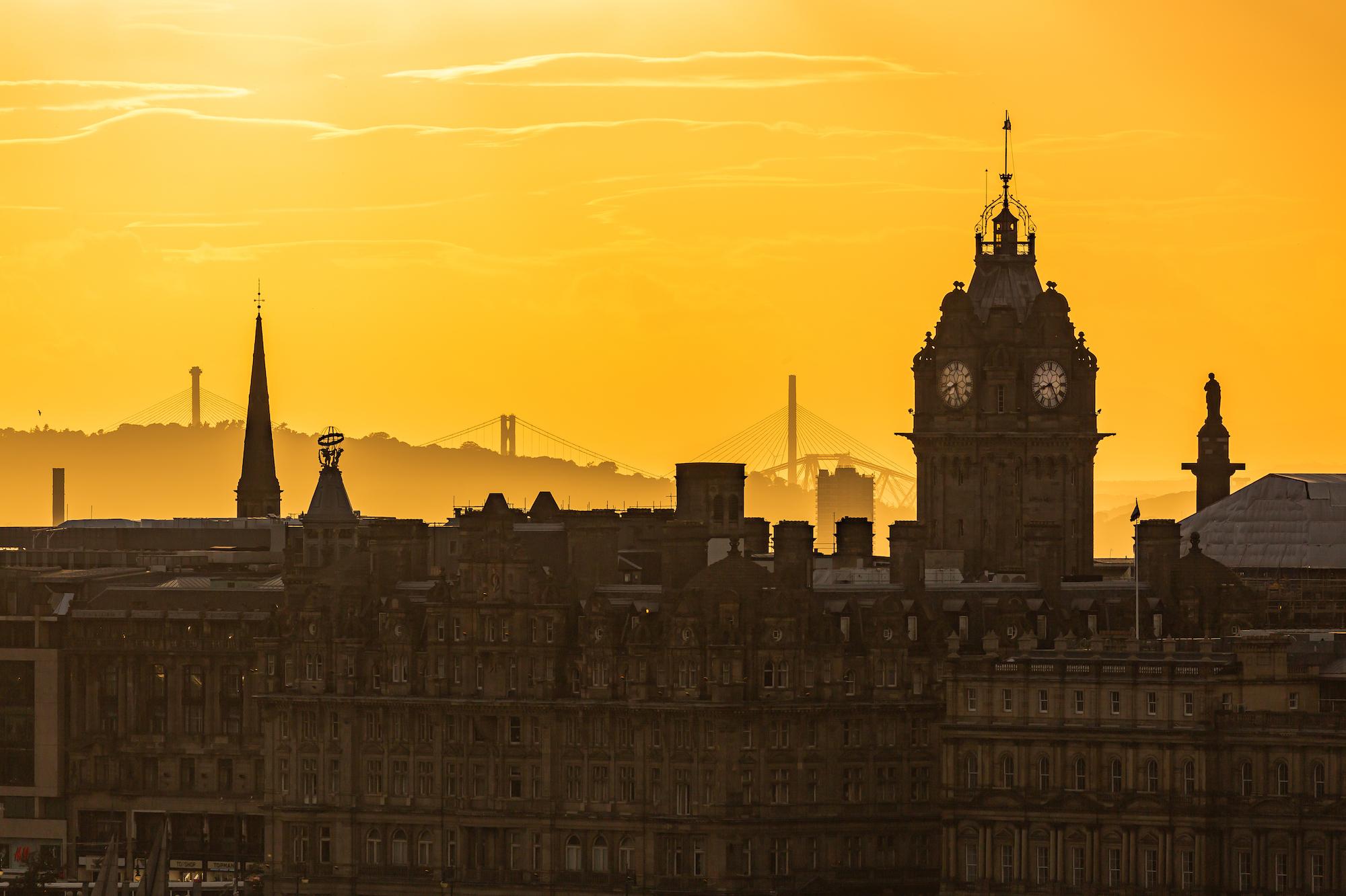 (204) (PO) Balmoral Hotel and Forth Bridges, Edinburgh, Scotland.jpg
