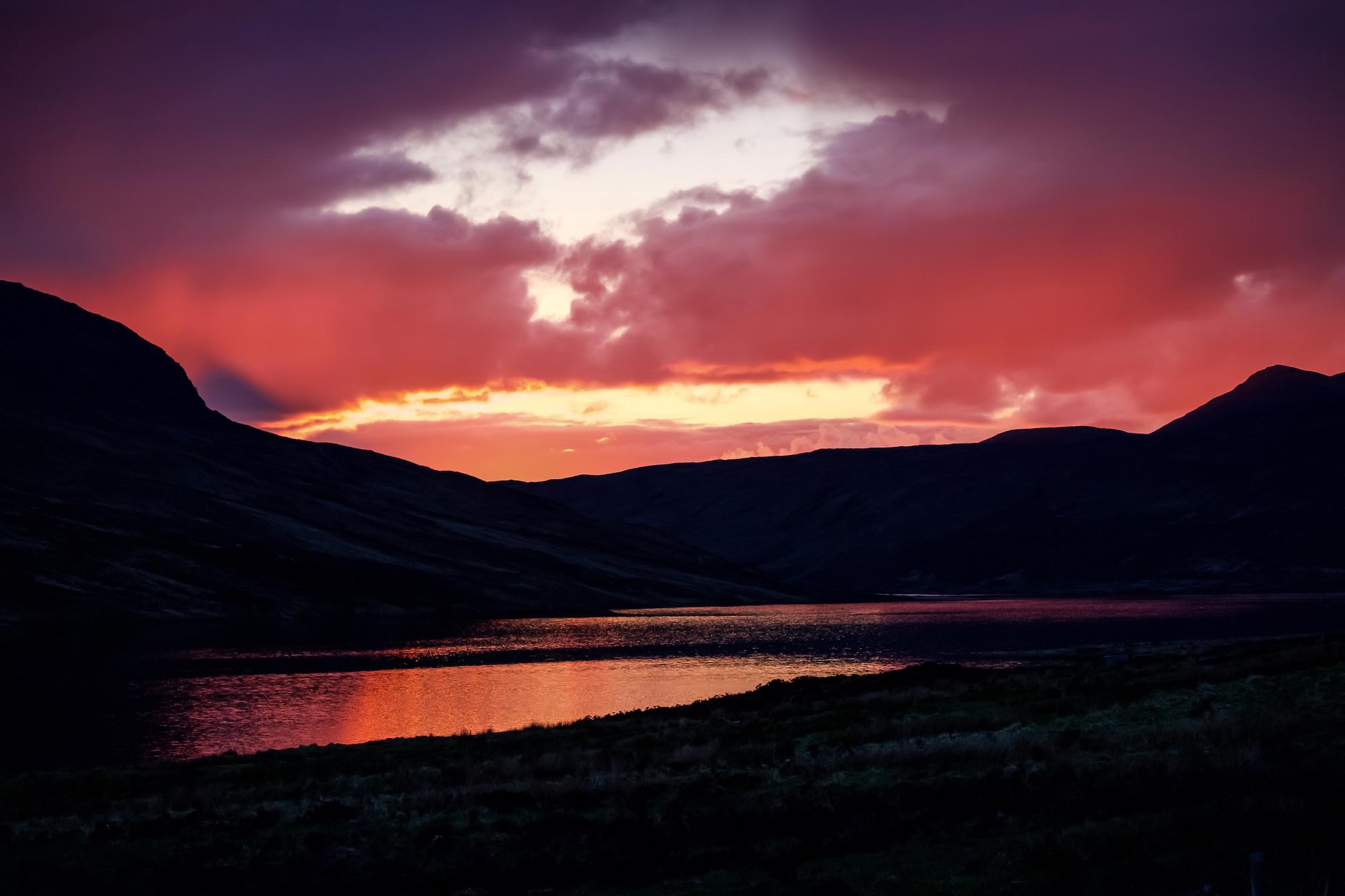 (161) (PO) Red Sunset over Loch Merkland in Sutherland, Scotland.jpg
