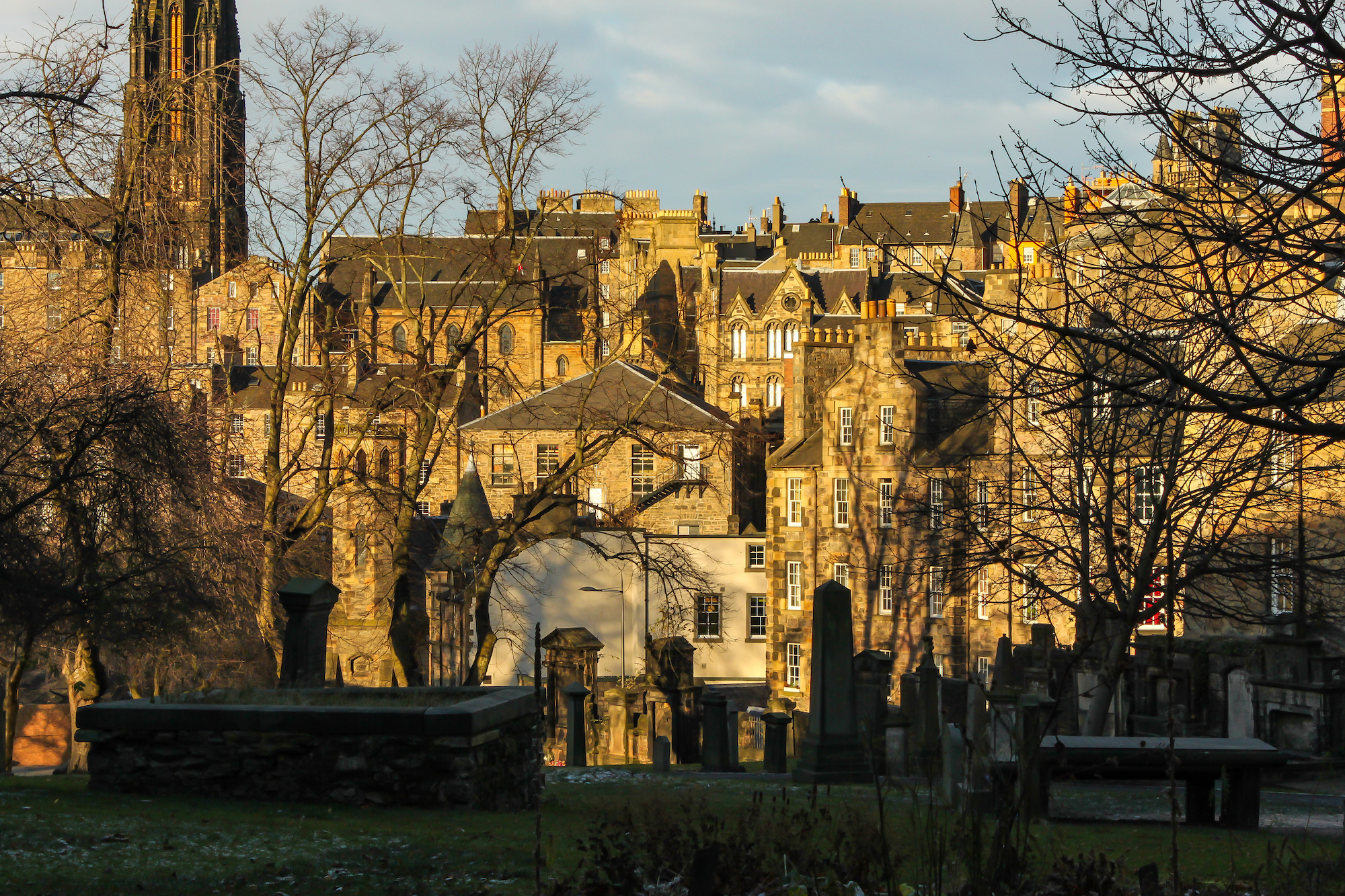 (115) (PO) View from Greyfriars Kirkyard to buildings in The Cowgate, Victoria Street and steeple of The Hub (originally the Victoria Hall) on Castlehill, Edinburgh, Scotland.jpg