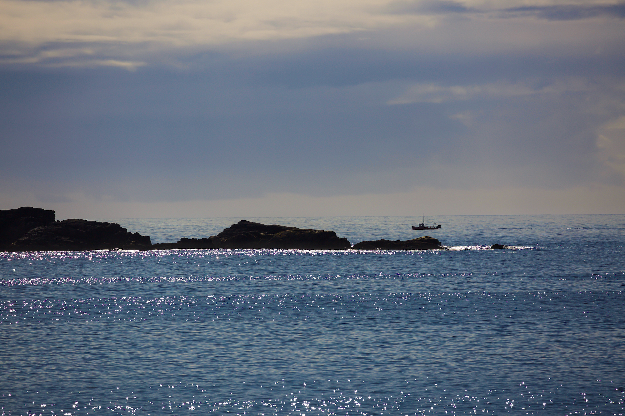 (167) View from Pier at Droman, Kinlochbervie to Dubh Sgeir Island (fishing in white light), Cape Wrath, Scotland. Copyright David Wheater.jpg