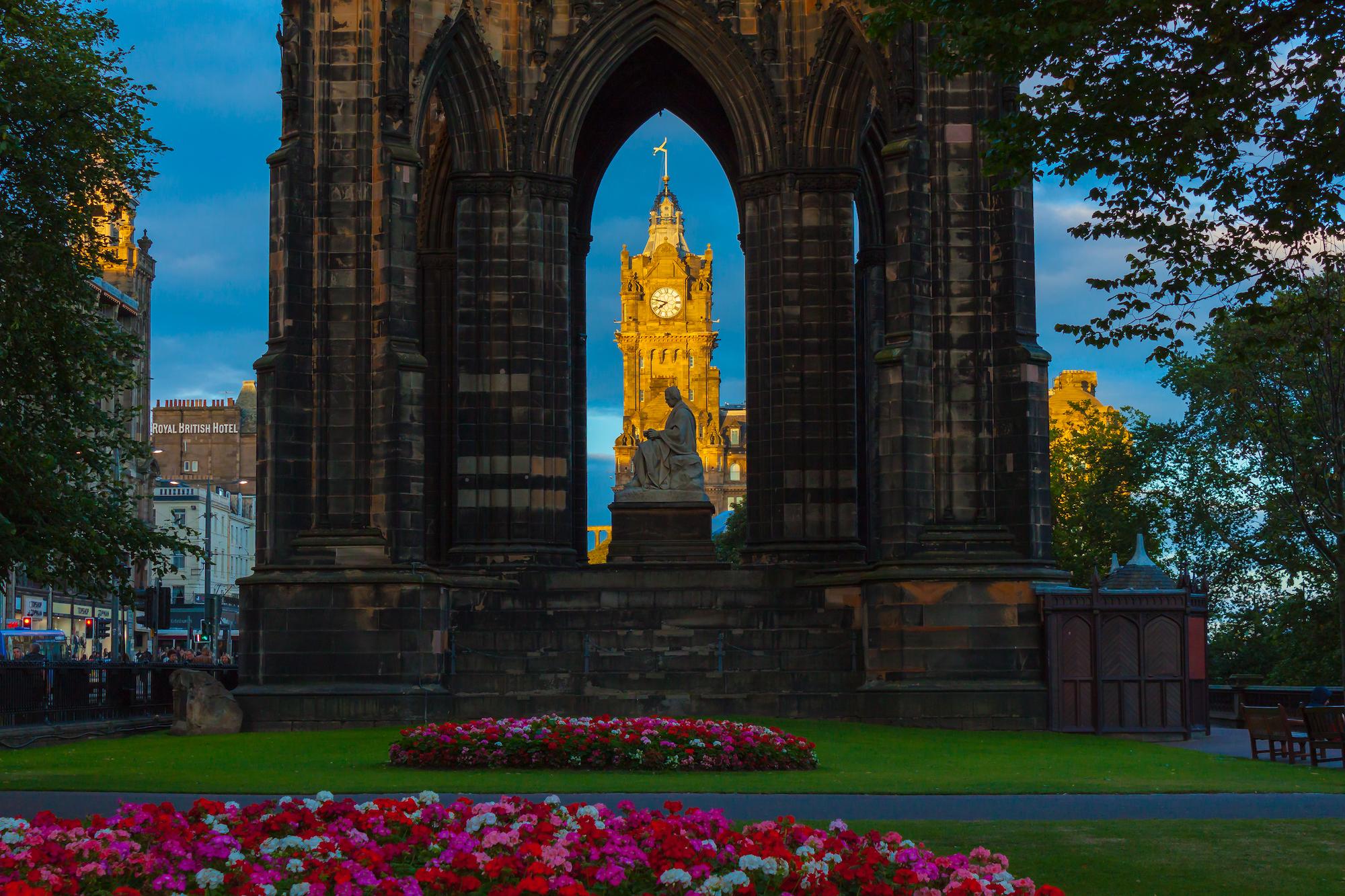 (12) Sir Walter Scott Monument and Balmoral Hotel Clock Tower, Princes Street, Edinburgh, Scotland. Copyright David Wheater.jpg