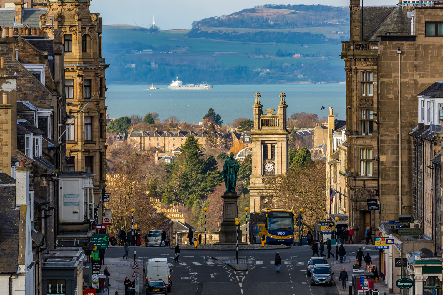 (31) Frederick Street, the Pitt Statue in George Street, St Stephen's Church Stockbridge, New Town, Firth of Forth and Kingdom of Fife, Edinburgh, Scotland. Copyright David Wheater.jpg
