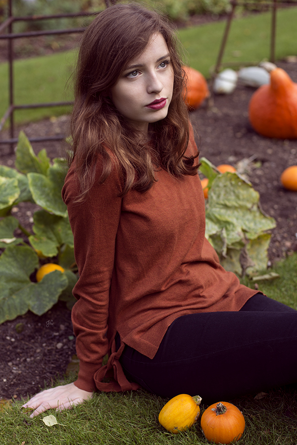 Pumpkin Patch Portraits - As it was October we couldn't help but take a few photos at the little Pumpkin Patch, especially as Isabella's jumper matched the colours so well!