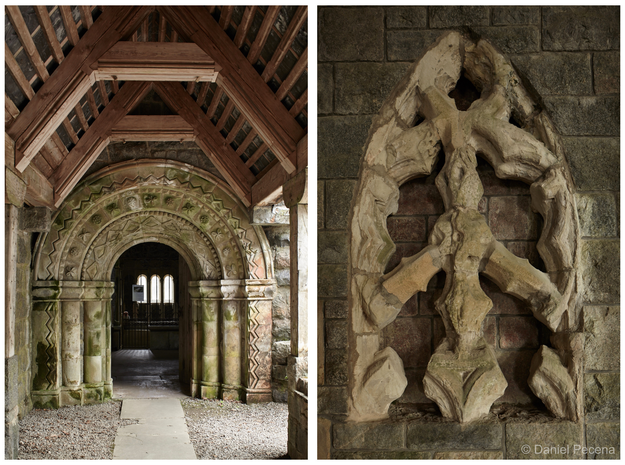 Entrance to church from the cloisters / Window from Iona Abbey