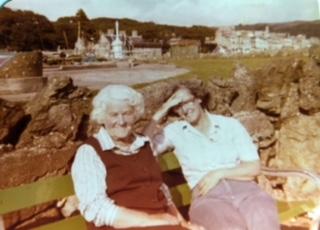 Sarah on the left, with Jan's Mum, Gena.