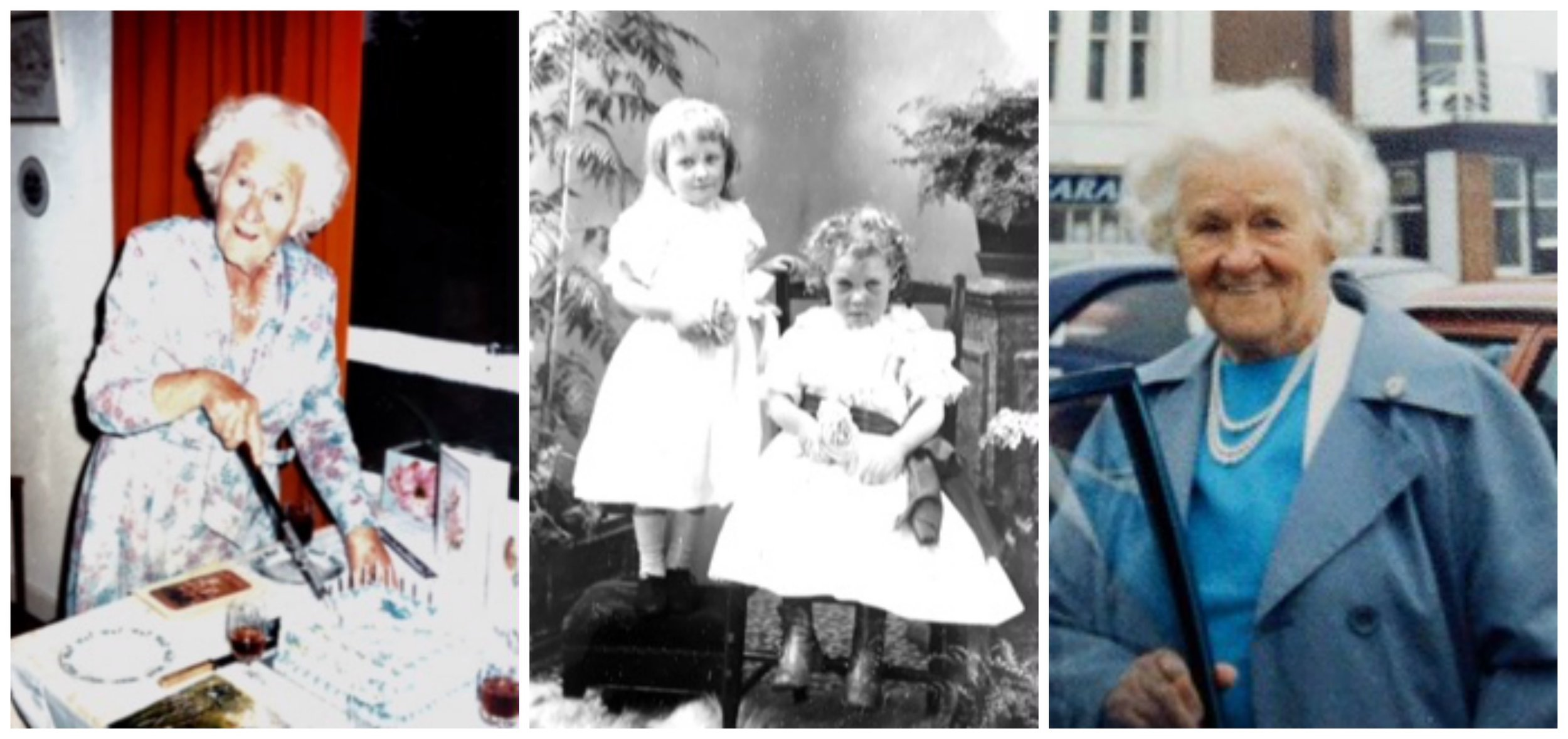 Sarah across the years, with little sister Lizzie in the centre.