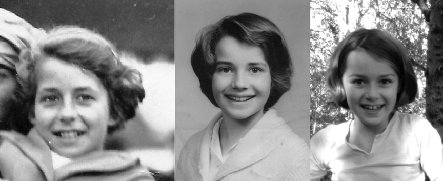 Family likeness across the generations; left to right, my mum, Bet, aged 10 - me aged ten - my granddaughter, aged eight.