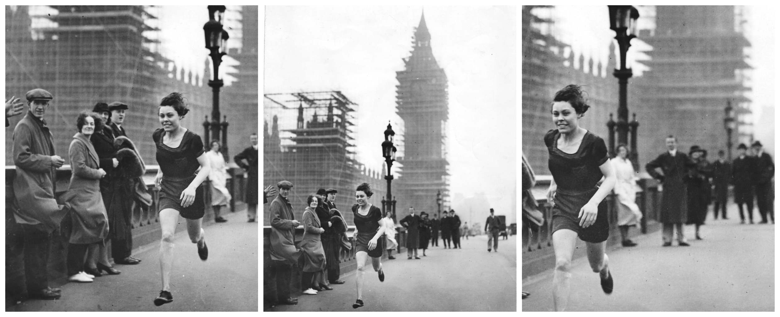 Florence, 1934, sprinting across Westminster Bridge, London