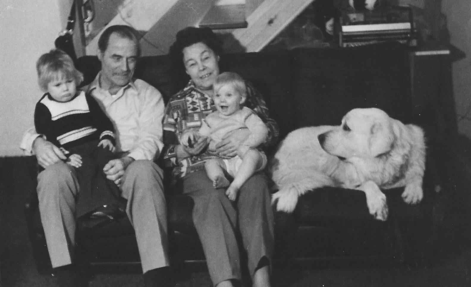 Scott, Florence's husband Ernest, Florence, Scott's sister Kellie and Sheba the dog