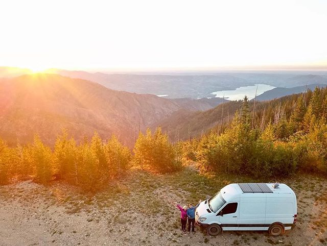 """FOLLOW this adVANturous couple! 🚐🚵♂️🏃♀️ Kyle and Lindsey quit their jobs, got married, and are embarking on a year long road trip to visit every National Park in the US. They named their van """"Louella"""" after their favorite hiking spot in Washington. Follow their adventures @louellathevan! #vanlife #vanlifers #adventureawaits"""