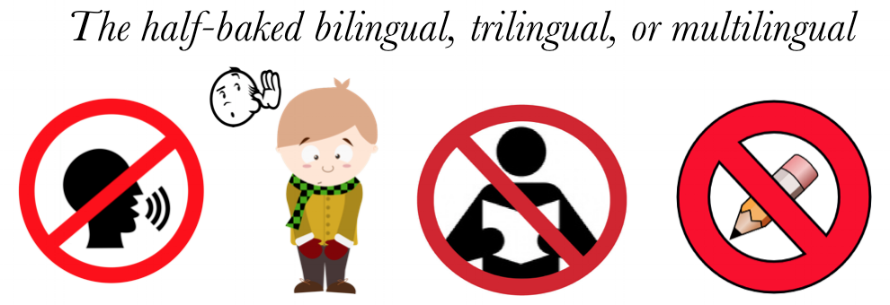 Photo: The  Half-Baked Bilingual  child, who only has  listening  knowledge of the language.