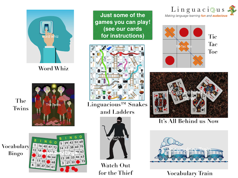 Games you can play with your child in over 25 languages with the Linguacious vocabulary flashcards