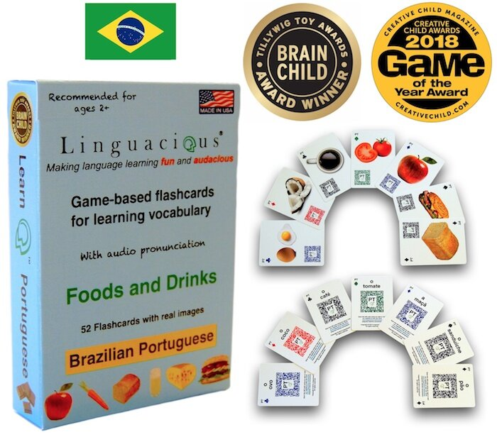 The multi-award-winning Linguacious® vocabulary flashcard game in the topics FOODS and DRINKS