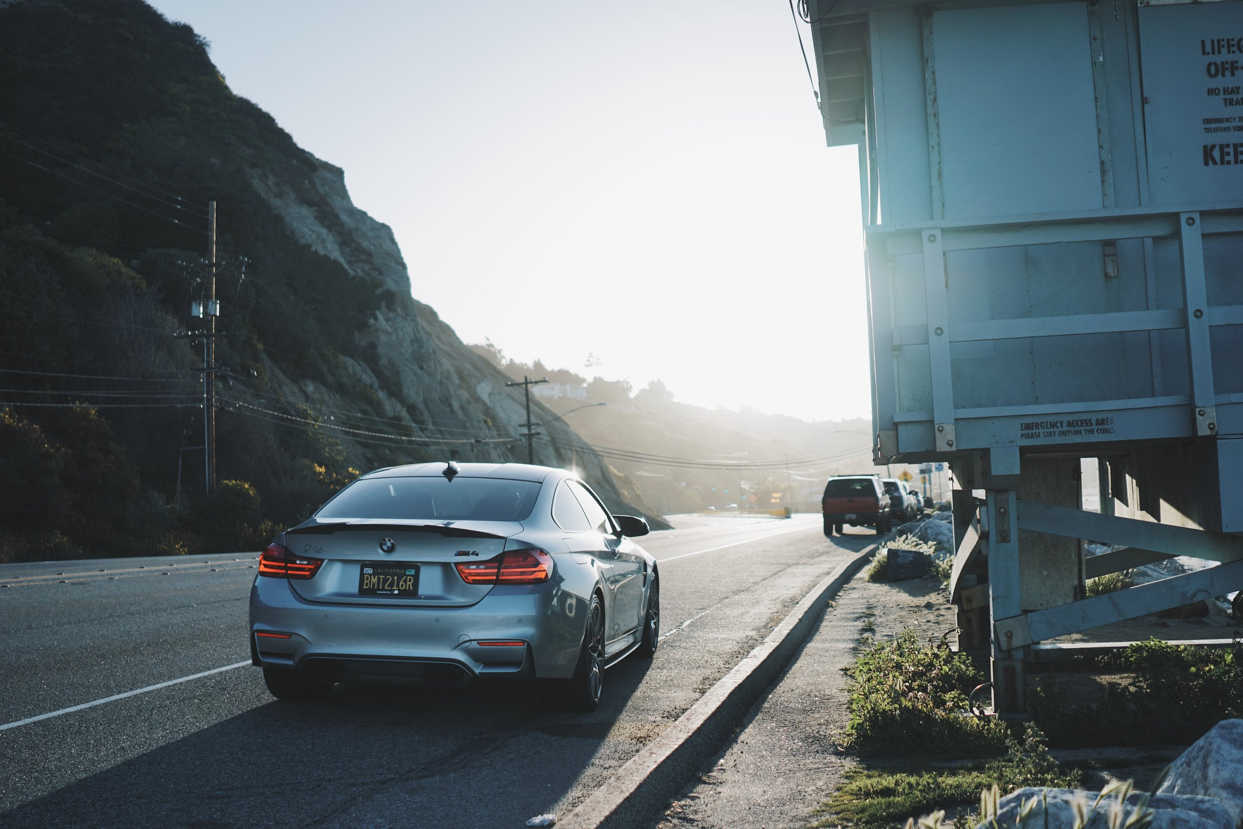 BMW M4 at golden hour, with the sunrise in Malibu.  Life does not get any better than this!